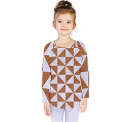 Triangle1 White Marble & Rusted Metal Kids  Long Sleeve Tee by trendistuff