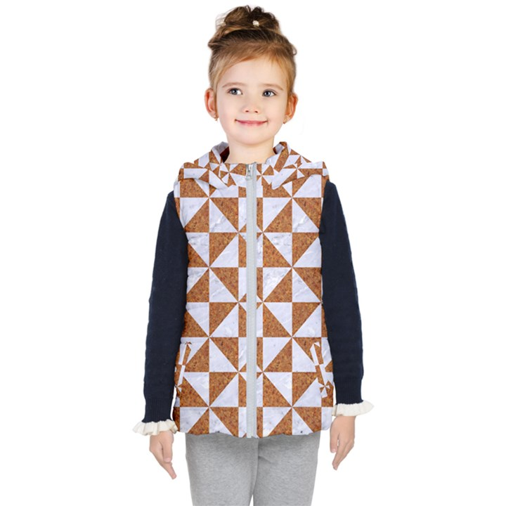 TRIANGLE1 WHITE MARBLE & RUSTED METAL Kid s Hooded Puffer Vest