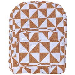 Triangle1 White Marble & Rusted Metal Full Print Backpack by trendistuff