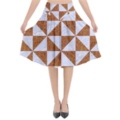 Triangle1 White Marble & Rusted Metal Flared Midi Skirt by trendistuff
