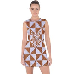 Triangle1 White Marble & Rusted Metal Lace Up Front Bodycon Dress by trendistuff