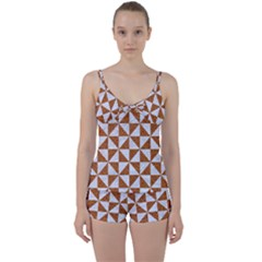 Triangle1 White Marble & Rusted Metal Tie Front Two Piece Tankini by trendistuff