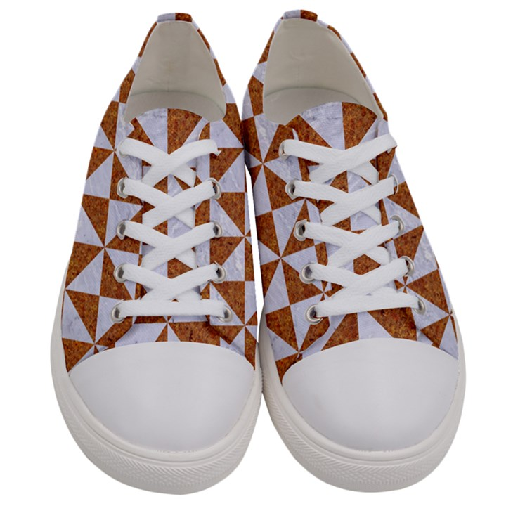 TRIANGLE1 WHITE MARBLE & RUSTED METAL Women s Low Top Canvas Sneakers