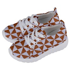 Triangle1 White Marble & Rusted Metal Kids  Lightweight Sports Shoes by trendistuff