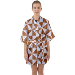 Triangle1 White Marble & Rusted Metal Quarter Sleeve Kimono Robe by trendistuff