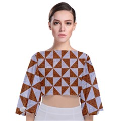Triangle1 White Marble & Rusted Metal Tie Back Butterfly Sleeve Chiffon Top by trendistuff