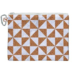 Triangle1 White Marble & Rusted Metal Canvas Cosmetic Bag (xxl) by trendistuff