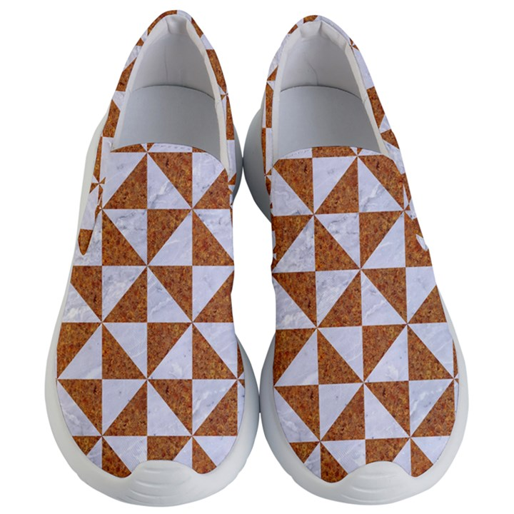 TRIANGLE1 WHITE MARBLE & RUSTED METAL Women s Lightweight Slip Ons