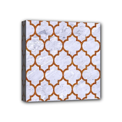 TILE1 WHITE MARBLE & RUSTED METAL (R) Mini Canvas 4  x 4
