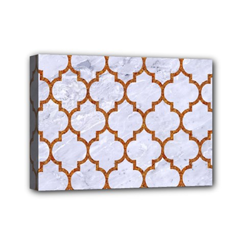 TILE1 WHITE MARBLE & RUSTED METAL (R) Mini Canvas 7  x 5