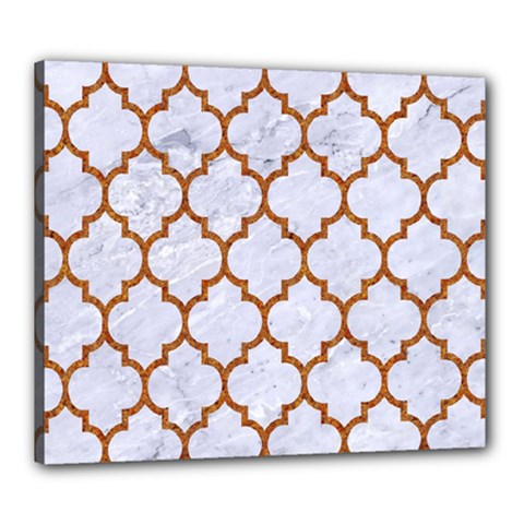 TILE1 WHITE MARBLE & RUSTED METAL (R) Canvas 24  x 20