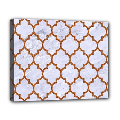 Tile1 White Marble & Rusted Metal (r) Deluxe Canvas 20  X 16   by trendistuff