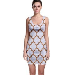 TILE1 WHITE MARBLE & RUSTED METAL (R) Bodycon Dress