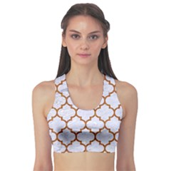 TILE1 WHITE MARBLE & RUSTED METAL (R) Sports Bra