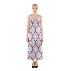 TILE1 WHITE MARBLE & RUSTED METAL (R) Sleeveless Maxi Dress