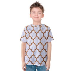 TILE1 WHITE MARBLE & RUSTED METAL (R) Kids  Cotton Tee