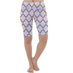 TILE1 WHITE MARBLE & RUSTED METAL (R) Cropped Leggings