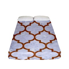 TILE1 WHITE MARBLE & RUSTED METAL (R) Fitted Sheet (Full/ Double Size)