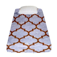TILE1 WHITE MARBLE & RUSTED METAL (R) Fitted Sheet (Single Size)