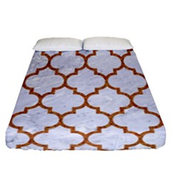 TILE1 WHITE MARBLE & RUSTED METAL (R) Fitted Sheet (Queen Size)
