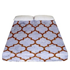 TILE1 WHITE MARBLE & RUSTED METAL (R) Fitted Sheet (California King Size)