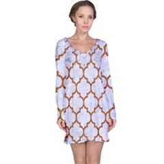 TILE1 WHITE MARBLE & RUSTED METAL (R) Long Sleeve Nightdress