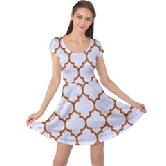 TILE1 WHITE MARBLE & RUSTED METAL (R) Cap Sleeve Dress