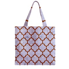 TILE1 WHITE MARBLE & RUSTED METAL (R) Zipper Grocery Tote Bag
