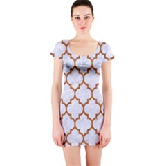 TILE1 WHITE MARBLE & RUSTED METAL (R) Short Sleeve Bodycon Dress