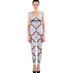 TILE1 WHITE MARBLE & RUSTED METAL (R) One Piece Catsuit