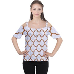 TILE1 WHITE MARBLE & RUSTED METAL (R) Cutout Shoulder Tee