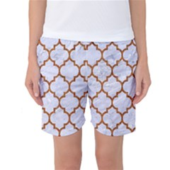 TILE1 WHITE MARBLE & RUSTED METAL (R) Women s Basketball Shorts