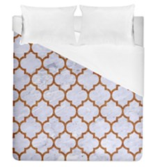 TILE1 WHITE MARBLE & RUSTED METAL (R) Duvet Cover (Queen Size)