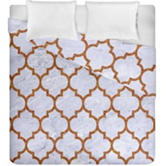 TILE1 WHITE MARBLE & RUSTED METAL (R) Duvet Cover Double Side (King Size)