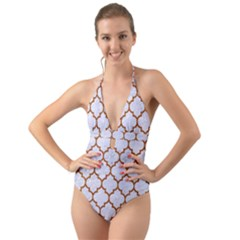 TILE1 WHITE MARBLE & RUSTED METAL (R) Halter Cut-Out One Piece Swimsuit