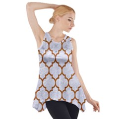 TILE1 WHITE MARBLE & RUSTED METAL (R) Side Drop Tank Tunic