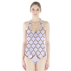 TILE1 WHITE MARBLE & RUSTED METAL (R) Halter Swimsuit