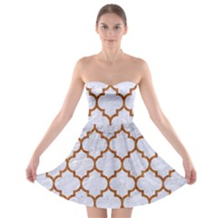 TILE1 WHITE MARBLE & RUSTED METAL (R) Strapless Bra Top Dress