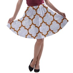 TILE1 WHITE MARBLE & RUSTED METAL (R) A-line Skater Skirt