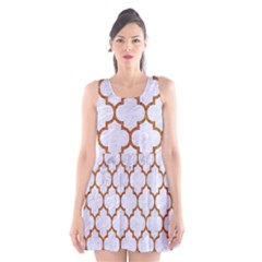 TILE1 WHITE MARBLE & RUSTED METAL (R) Scoop Neck Skater Dress