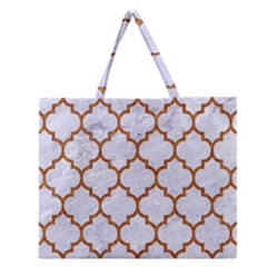 TILE1 WHITE MARBLE & RUSTED METAL (R) Zipper Large Tote Bag