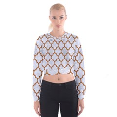Tile1 White Marble & Rusted Metal (r) Cropped Sweatshirt by trendistuff