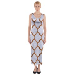 TILE1 WHITE MARBLE & RUSTED METAL (R) Fitted Maxi Dress
