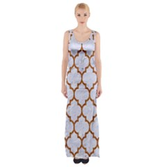 TILE1 WHITE MARBLE & RUSTED METAL (R) Maxi Thigh Split Dress