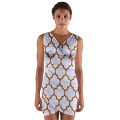TILE1 WHITE MARBLE & RUSTED METAL (R) Wrap Front Bodycon Dress