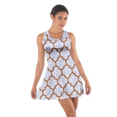 TILE1 WHITE MARBLE & RUSTED METAL (R) Cotton Racerback Dress