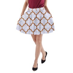 TILE1 WHITE MARBLE & RUSTED METAL (R) A-Line Pocket Skirt