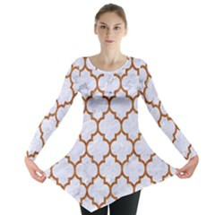 TILE1 WHITE MARBLE & RUSTED METAL (R) Long Sleeve Tunic