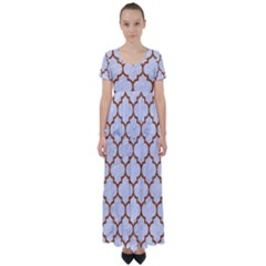 TILE1 WHITE MARBLE & RUSTED METAL (R) High Waist Short Sleeve Maxi Dress