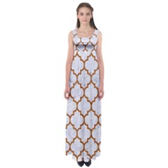 TILE1 WHITE MARBLE & RUSTED METAL (R) Empire Waist Maxi Dress